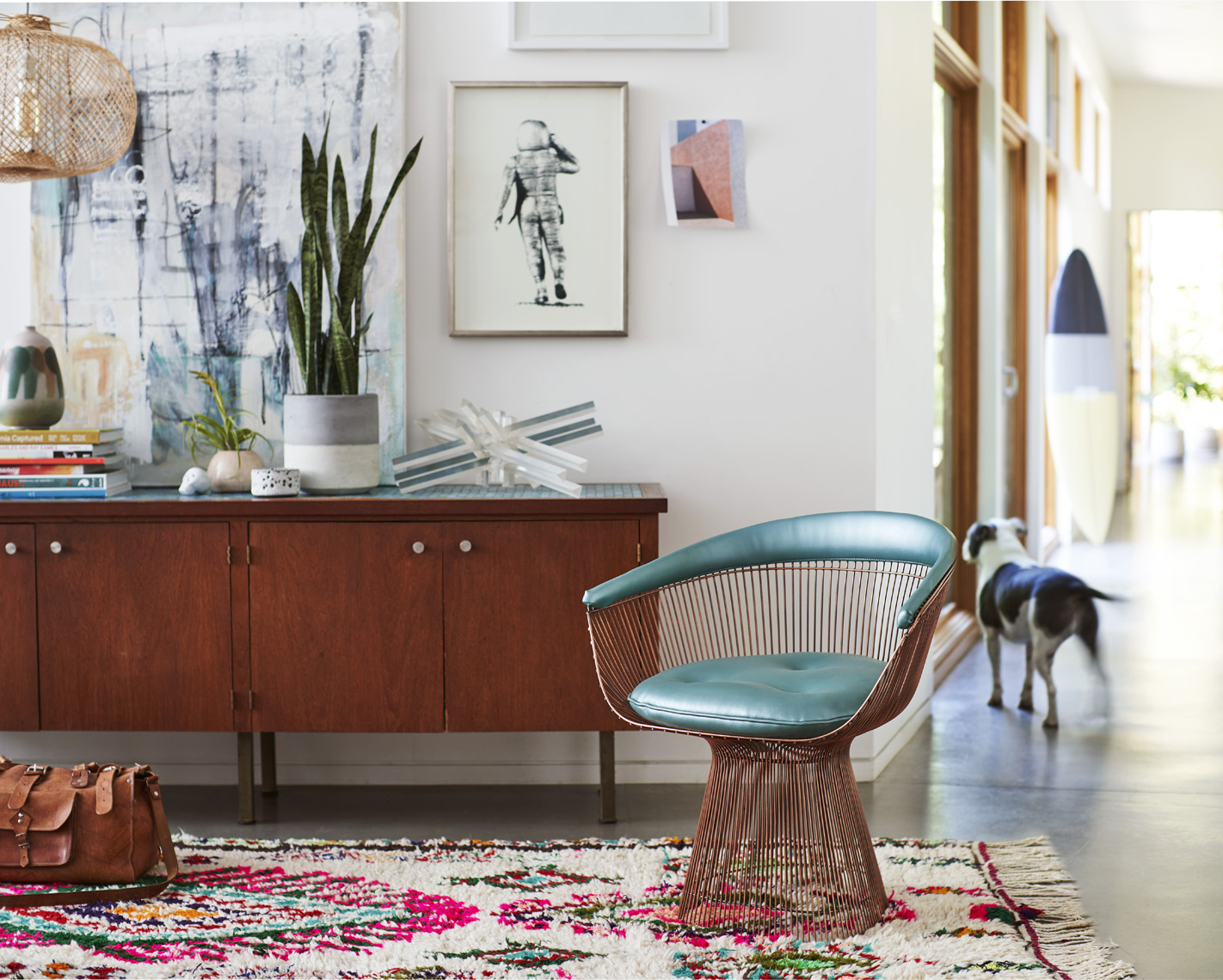 Credenza and copper chair in modern house art painting  print lamp dog Sean Dagen Photography