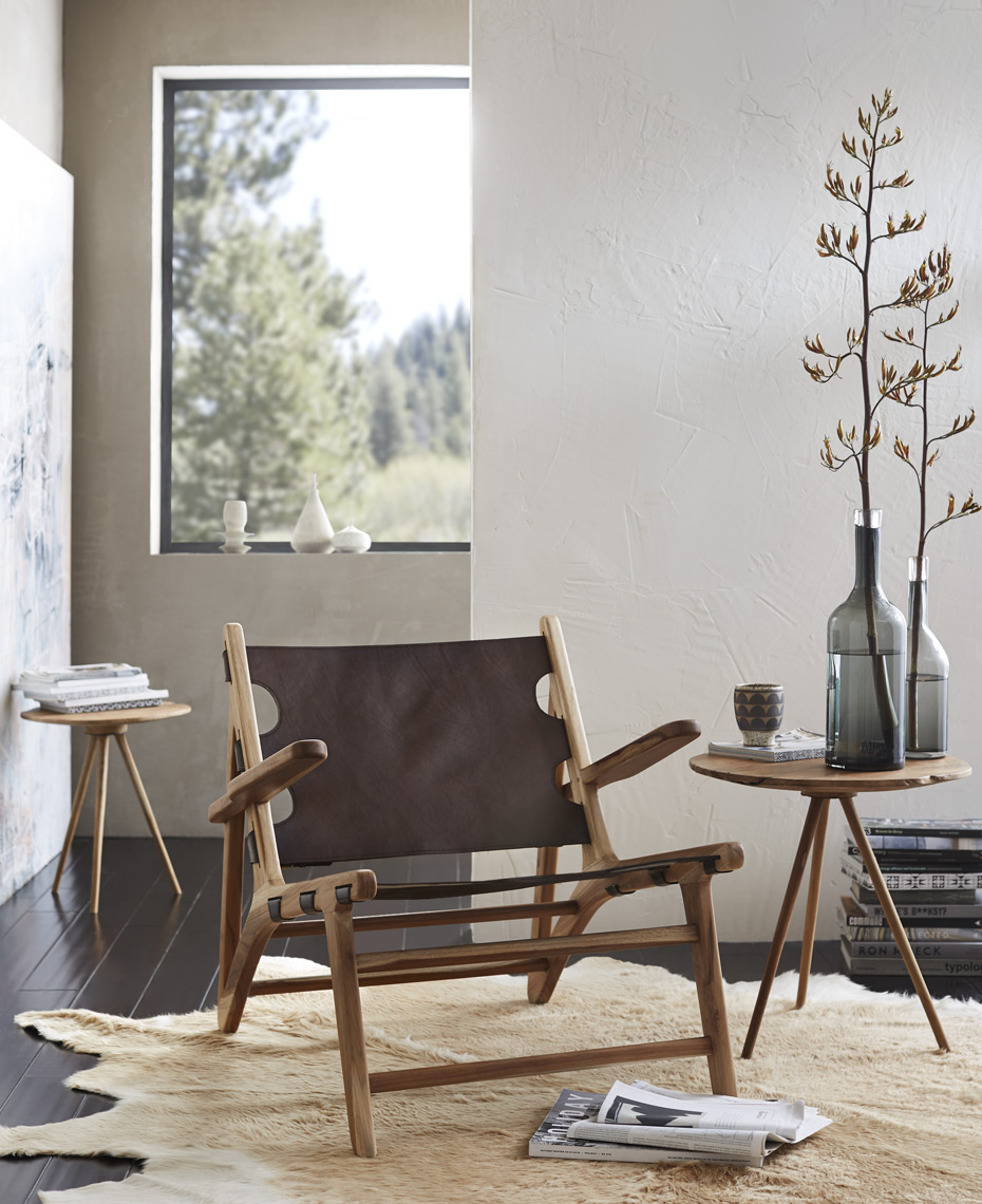 Leather chair in front of window in modern rustic setting Sean Dagen Photography