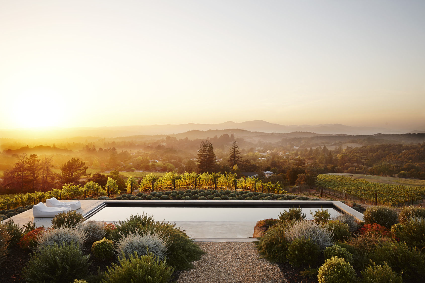Exterior view of backyard garden and pool with chaise lounger in Napa Valley at sunset vineyard in background Sean Dagen Photography