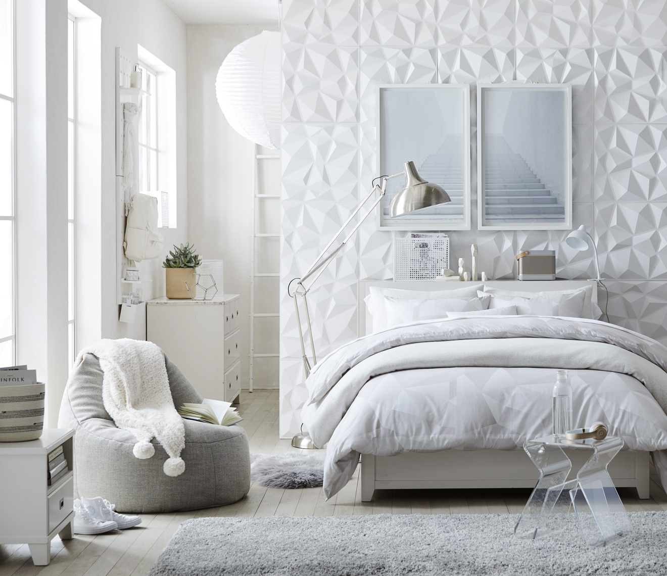 Modern geometric themed bedroom
