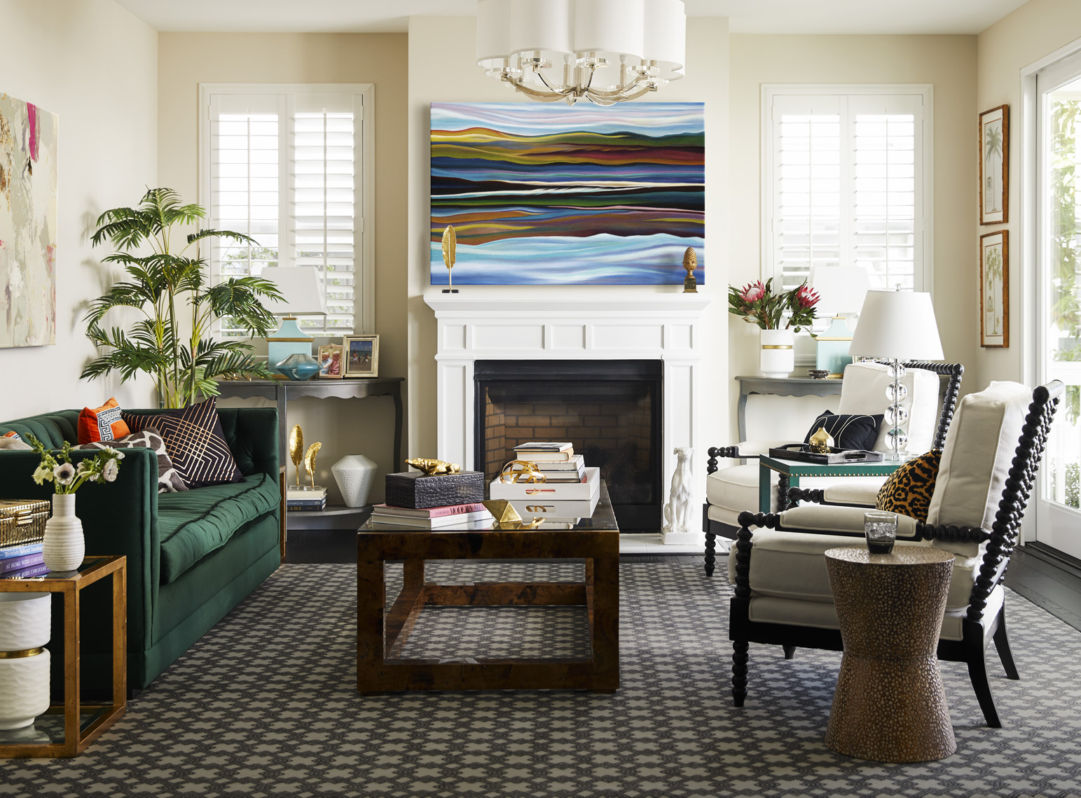 Posh Living room in Tiburon with framed art above fireplace Sean Dagen Photography
