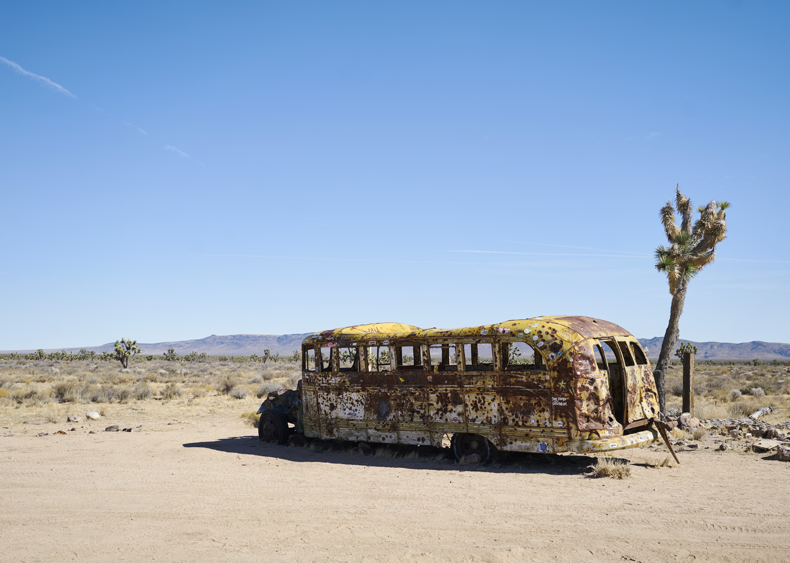 Abandoned school bus along Mojave Road in California Sean Dagen Photography