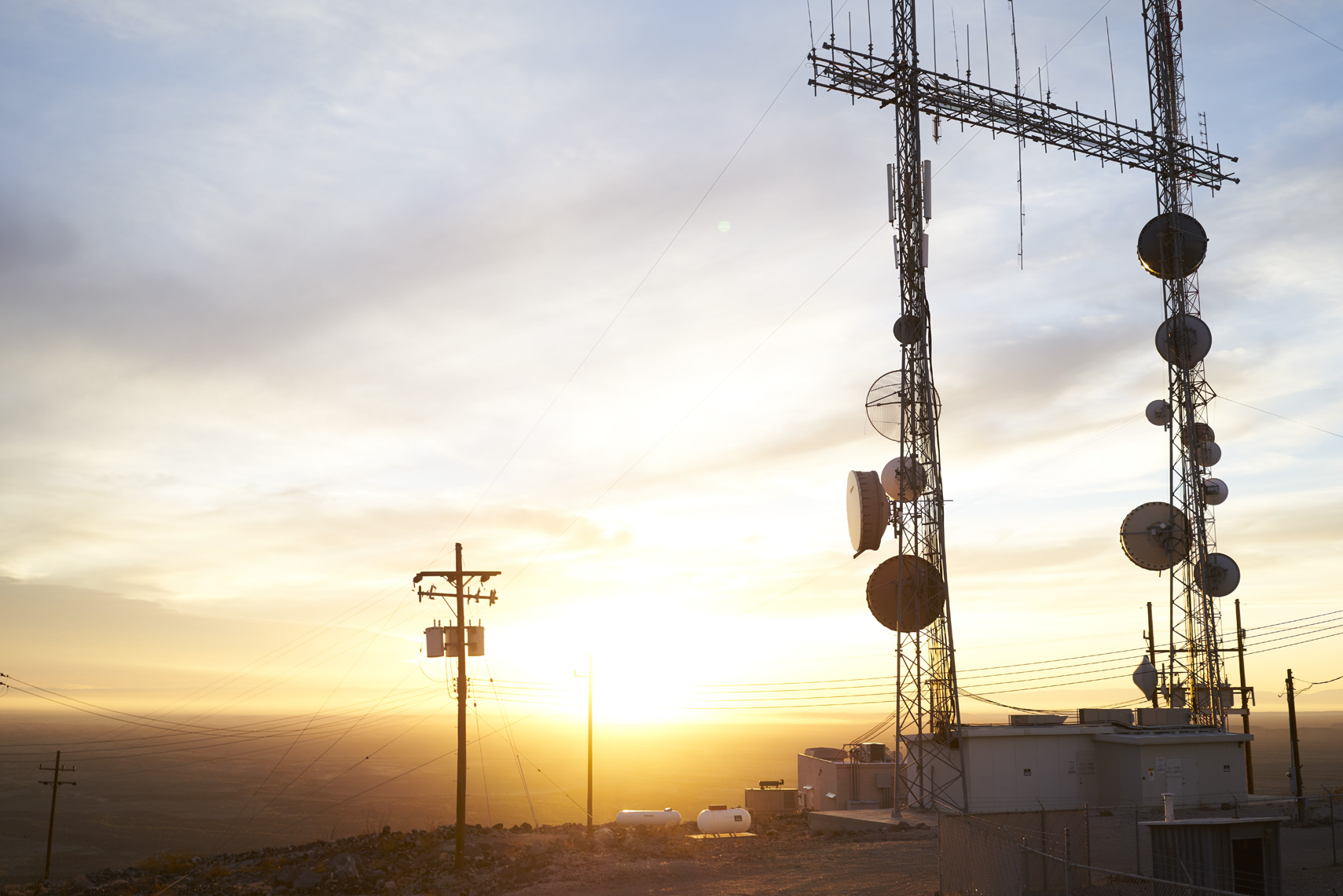Radio towers on Black Mountain at sunset Sean Dagen Photography