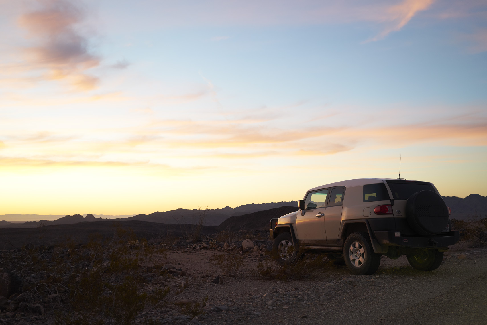 Toyota FJ at sunset on Black Mountain in California Sean Dagen Photography